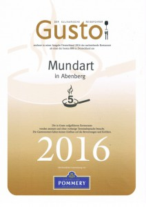 Gustoauszeichnung 2016 - 5 Pfannen